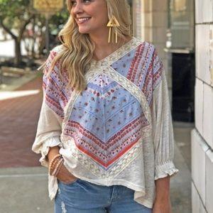 FREE PEOPLE | prairie days floral blouse top shirt